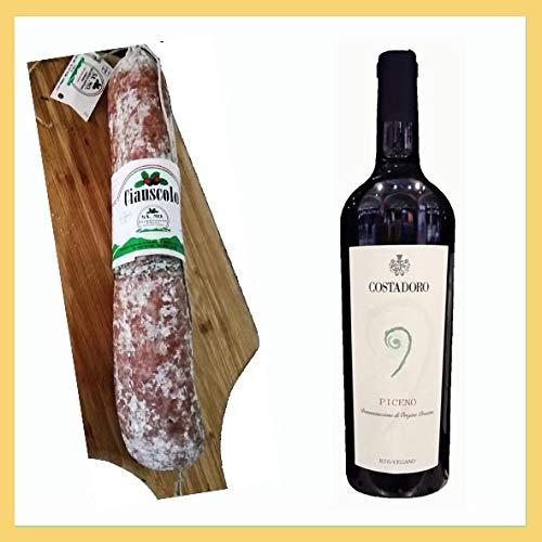 Selezione Rosso Piceno 302. 1x ciabuscolo igp 600 gr, 1x Vino Rosso Piceno dop biologico, cantina Costadoro, San Benedetto del Tronto, Ascoli Piceno, Italy, prodotto tipico marchigiano