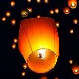 AYNEFY Sky Lantern Kit, 50Pcs Delicate Oval Shape Flane-Resistant Fire Wire-Free Flying Lantern Chinese Kongming Lanterns Wish Lights Kit White for Birthdays Weddings Christmas Memorials