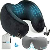Luxury Travel Neck Pillow Sleep Kit - 100% Memory Foam Travel Pillow, 3D Contoured Sleep Mask,...