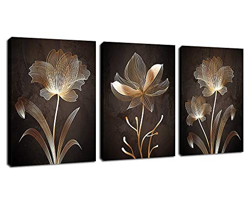 Abstract Wall Art Golden Flowers Canvas Pictures Contemporary Minimalism Abstract Artwork for Bedroom Bathroom...