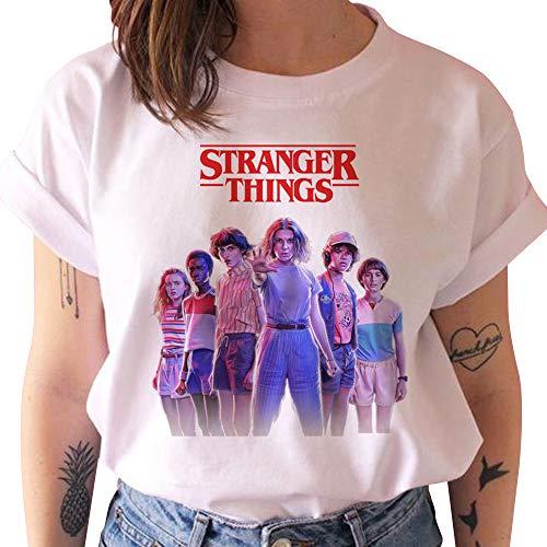 Stranger Things Maglietta per Ragazza, Stranger Things 4 T-Shirt Maniche Corte Maglia con Stampa Lettera Tee Moda Camicia Tops Shirt Camicetta Maglietta da Uomo Donna (B16614,S)