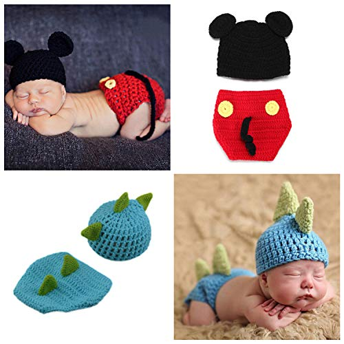 ZOCONE 2 Sets Newborn Photography Costume Crochet Knitted Baby...