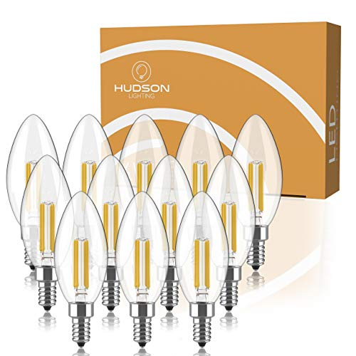 Dimmable E12 LED Candelabra Bulb Set - 4W, 40W Equivalent - 2700K Warm White - Small Base Candle Lightbulb for Chandelier, Ceiling Fan, Sconce, Desk Lamp or Porch Lights - Pack of 12