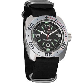 Vostok Amphibian Scuba Dude Automatic Mens Wristwatch Self-Winding Military Diver Amphibia Ministry Case Wrist Watch #710640 (Black)