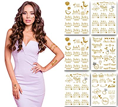 100+ STUNNING TATTOOS that match the vibrant images shown. Make any bachelorette party fun and fabulous with a touch of metallic tattoo bling. The bride and her bride tribe will love these for bachelorette party favors, supplies, gifts, and accessori...