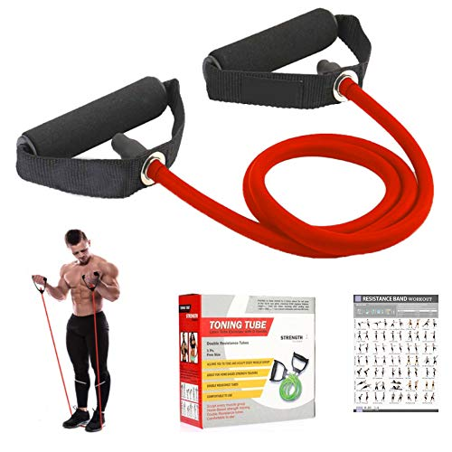 Fashnex Resistance Band Toning Tube with D Handle for Exercise Workout, Single Resistance Tube for Workout, Toning Tube Hips Band, Exercise Band for Men & Women
