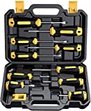 Magnetic Screwdriver Set 10 PCS, CREMAX Professional Cushion Grip 5 Phillips and 5 Flat Head Tips Screwdrivers with Case Non-Slip for Repair Home Improvement Craft