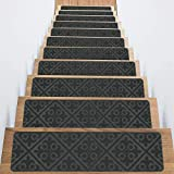 Treadsafe Non-Slip Carpet Stair Treads, Anti Moving Grip and Beauty Rug Tread Safety for Kids Elders and Dogs, 8'30' (Gray)
