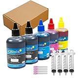 CISinks Standard Universal Black Refill Ink - 500 ml (16.9 oz) Dye-Based Ink for All Printers B, B, Y, M, C + Refill Tool Kits Blunt Injectors