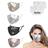 Sequin Glitter Rhinestone Face Mask For Women, Bling Sparkly Diamond Breathable Reusable Washable...