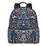 Blue Antique Persian Isfahan Silk Rug With Flowers Animals Pt Student School Bag School Cycling Leisure Travel Camping Outdoor Backpack
