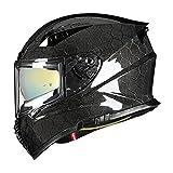 VCOROS FA-602 Carbon Fiber Full Face Motorcycle Helmet Unisex-Adult Dual Visor Helmets(Hexagon Carbon Fiber,L)