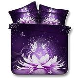 Sticker superb Violet Élégant Fleur Rêver Receveur Housse de Couette avec Taie d'oreiller, Jardin Floral Romantique Femme Parures de Lit avec Fermeture éclair (Fleur et Papillon, 220_x_240_cm)