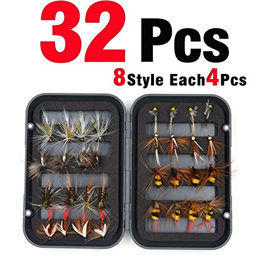 FJJ-DIAOYU, 32 Pz/Scatola Trota NINFA Fly Fishing Lure Dry/Wet Flies Ninfe Esche da Pesca sul Ghiaccio Esca Artificiale con Boxed (Colore : 32Pcs in Box)