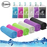 Cooling Towel,Vofler 6 Pack Cool Towels Microfiber Chilly Ice Cold Head Band Bandana Neck Wrap (40'x 12') for Athletes Men Women Youth Kids Dogs Yoga Outdoor Golf Running Hiking Sports Camping Travel