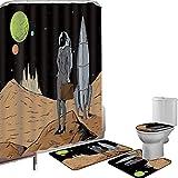 Juego de cortinas baño Accesorios baño alfombras Astronauta Alfombrilla baño Alfombra contorno Cubierta del inodoro Mujer de negocios en el espacio Maletín Compra y venta en Alien Planet Decorativo,Ne
