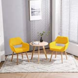 Homy Grigio Modern Living Dining Room Accent Arm Chairs Club Guest with Solid Wood Legs (Set of 2,Yellow)