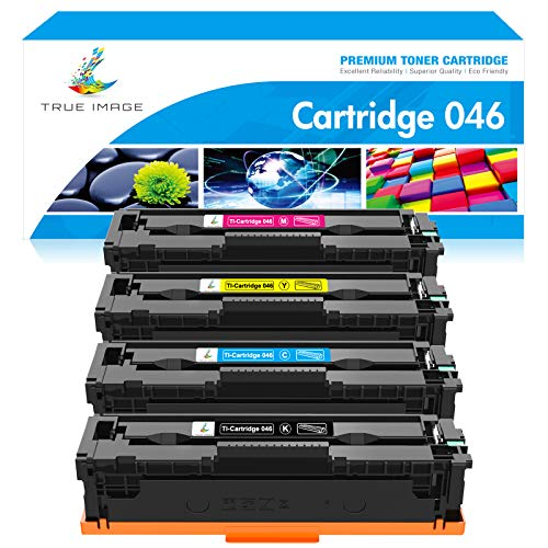 True Image Compatible Toner Cartridge Replacement for Canon 046 MF733Cdw CRG-046 Color ImageCLASS MF733Cdw MF731Cdw MF735Cdw LBP654Cdw MF733 Printer Ink (Black Cyan Yellow Magenta, 4-Pack)