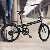 Mountain Bike, Adult Folding Bikes Women Full Suspension Bike Lightweight Aluminum Frame, Adults Bicycle Non-Slip Outdoor Bicycle Leisure 20in 7 Speed ​​City Folding Mini Compact Bike Urban Commuters