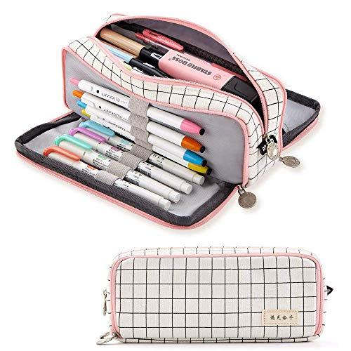 Astuccio grande con 3 scomparti, grande tasca per penne per ragazzi, ragazze, studenti, cancelleria, per cancelleria e cancelleria, a quadretti, bianco
