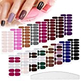 224 Pieces 16 Sheets Nail Polish Stickers Self-Adhesive Polish Wraps Stickers Classic Solid Glitter Adhesive Full Wraps Strips Nail Art Polish Decals with Nail File for Women Girls (Multicoloured)