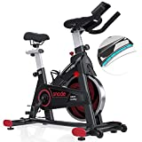 SNODE Magnetic Indoor Cycling bike-Exercise Bike With Tablet Holder, Upgraded LCD Monitor with Weight, Height input Function, Stationary Bike for Home Fitness Cardio Workout