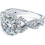Kobelli Double Braided Cross Shank Halo Diamond and Moissanite Engagement Ring 1-4/5 Carat TW 14k White Gold, 7.5