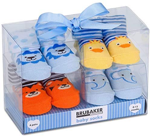 BRUBAKER 4 paia di calze neonato da 0-12 mesi - calzini maschili design faunistico