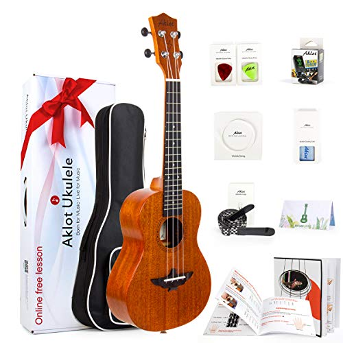 Aklot Concert Ukulele Solid Mahogany Ukelele 23 Inch Ukele for Professional Uke Beginner Starter Kit With Free Online Course 8 Packs(Gig Bag Picks Tuner Strap String Cleaning Cloth Instruction Book)