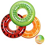 FindUWill Inflatable Pool Floats Swim Tubes Rings(3 Pack), Beach Swimming Party Toys for Kids Adults raft floaties Toddlers