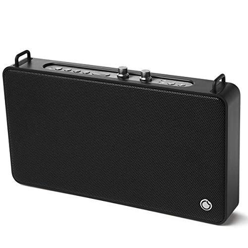 WLAN-Lautsprecher, Multiroom-Lautsprecher mit Höhen- und Bassregler; Satter Sound und kraftvoller Bass 20W Treiber, Unterstützt die Anbindung an Spotify, Airplay, DLNA, iHeartRadio, schwarz