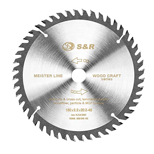 S&R Kreissägeblatt 160mm x 20mm x 2,2 mm'Wood Craft' Reduzierring 16mm, Sägeblatt für Holz in Profiqualität (48 Sägezähne)