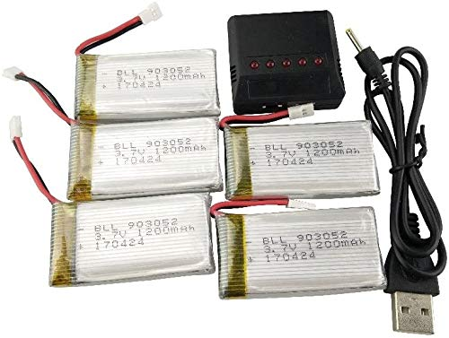 Fytoo 5PCS 3.7V 1200mAh Lipo Battery And 5in1 Charger for SYMA X5SW X5SC X5SC-1 RC Quadcopter Drone...