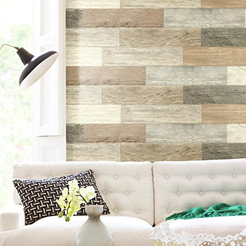 RoomMates Distressed Barn Wood Plank Peel and Stick Giant Wall Decals, Multi-Colored