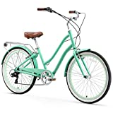 sixthreezero EVRYjourney Women's 7-Speed Step-Through Hybrid Cruiser Bicycle, 26' Wheels with 17.5' Frame, Mint Green with Brown Seat and Grips