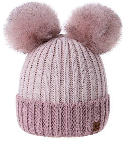 MFAZ Morefaz Ltd Winter Donne Beanie Invernale Berretto Cappello Pom Pom Doppio Hat Sci di Moda (Rose-Pink Powder-Pink)