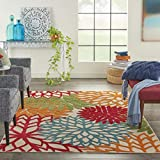 Nourison Aloha ALH05 Indoor/Outdoor Floral Green 5'3' x 7'5' Area Rug (5'x8')