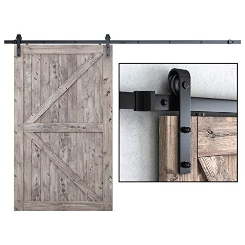 SMARTSTANDARD 10FT Heavy Duty Sturdy Sliding Barn Door Hardware Kit, 10' Double Track Rail, Super Smoothly and Quietly, Simple and Easy to Install, Fit 60' Wide DoorPanel (J Shape Hanger)