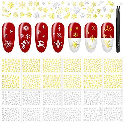 24 Hojas Pegatinas Uñas Navidad Decorativa Copos de Nieve Etiqueta Uñas Adhesivos para Uñas Nail Art Stickers con Pinzas para Decoraciones de Uñas de Bricolaje