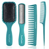 TimeTinkle Jeu de brosses à cheveux 4 pièces – Brosse démêlante, brosse de coiffage, peigne à queue et peigne à dents larges pour femmes, hommes et enfants, efficaces sur cheveux mouillés ou secs