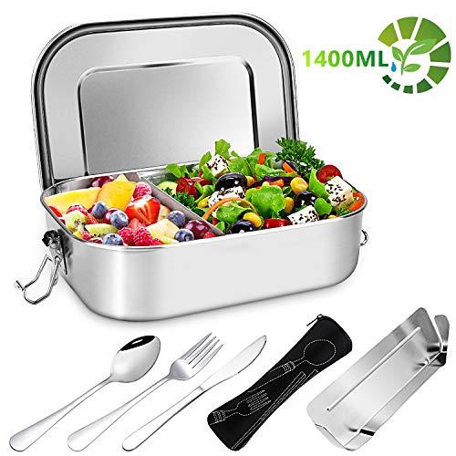 Gifort Fiambrera de Acero Inoxidable, Lunch Box Premium 1400ml con Divisor Extraíble y 3...