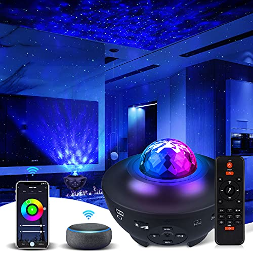 Galaxy Projector Star Projector Work with Alexa Google Home Galaxy Cove Projector with Bluetooth Music Speaker, Galaxy Globe Projector Remote Control Galaxy 360 Pro Galaxy Light Projector for Bedroom