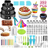 Cake Decorating Supplies,393 PCS Cake Decorating Kit 4 Packs Springform Cake Pans, Cake Rotating Turntable,48 Piping Icing Tips,7 Russian Nozzles, Baking Supplies,Cupcake Decorating Kit