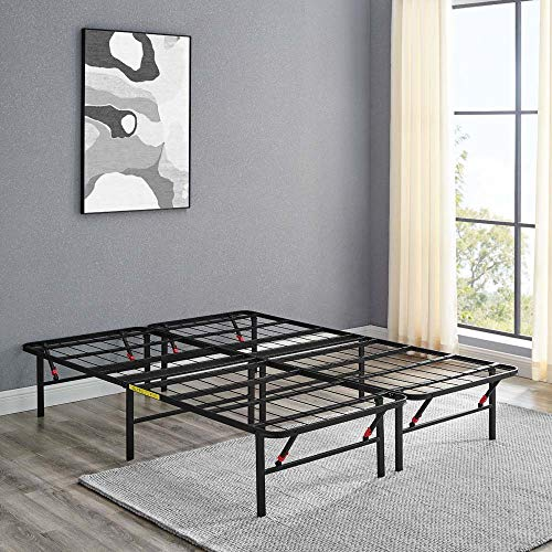 Amazon Basics Foldable, 14' Black Metal Platform Bed Frame with Tool-Free Assembly, No Box Spring Needed - Full