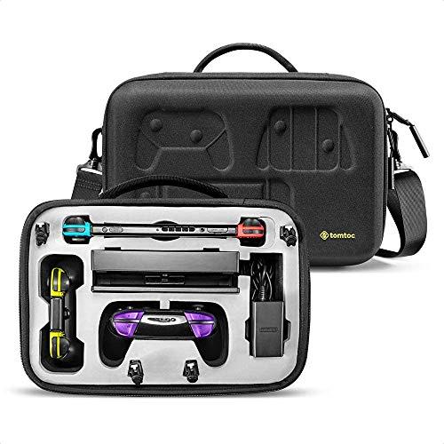 tomtoc Tasche für Nintendo Switch, Switch Groß Taschen Deluxe Storage Case Hülle Tragetasche Aufbewahrungstasche Etui, kompatibel mit Switch Konsole, Dock, Pro Controller, Netzteil, Schwarz