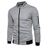 Veravant Sweat-Shirt Homme Manches Longues Pull Uni Zippé Bomber Blouson Veste Sport - Gris clair - Small