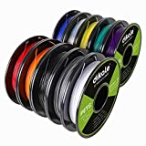 PETG 10 Packs, dikale 3D Printer Filament 1.75mm, Each Spool Net Weight 1.1lbs(500g), 10 Colors Pack