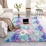 Soft Shaggy Area Rug for Bedroom Sofa Living Room Rectangle Fluffy Bedside Rugs Colorful Abstract Multi Plush Fuzzy Decorative Floor Carpet (3x5 Feet, Blue-Purple)
