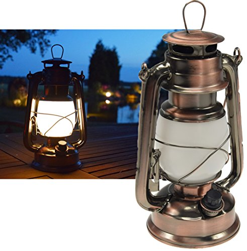 ChiliTec LED Camping Laterne Garten-Laterne Retro Design I Dimmbar Batteriebetrieb 4x AA Mignon 23,5cm Bügel Warmweiß