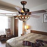52-Inch Black Ceiling Fan With Tiffany Light